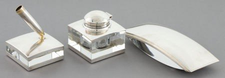 68063: A THREE PIECE GERMAN SILVER AND GLASS DESK SET