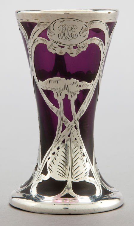 68067: AN AMERICAN GLASS VASE WITH SILVER OVERLAY ATTRI