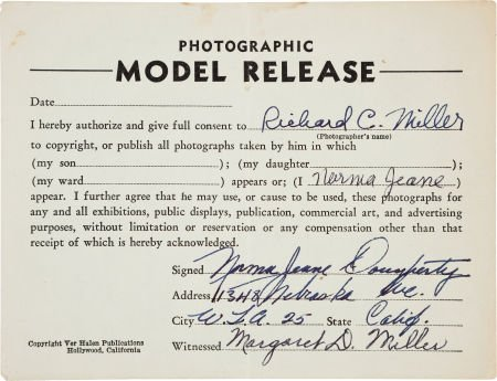 46002: A Marilyn Monroe Signed 'Photographic Model Rele