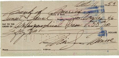 46005: A Marilyn Monroe Handwritten Check, 1954.