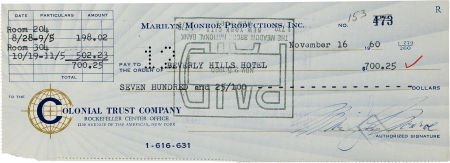 46006: A Marilyn Monroe Signed Check, 1960.