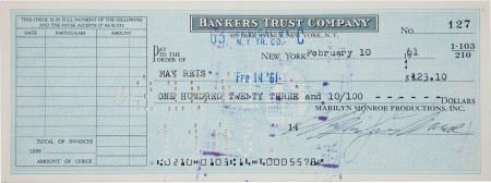 46007: A Marilyn Monroe Signed Check to May Reis, 1961.