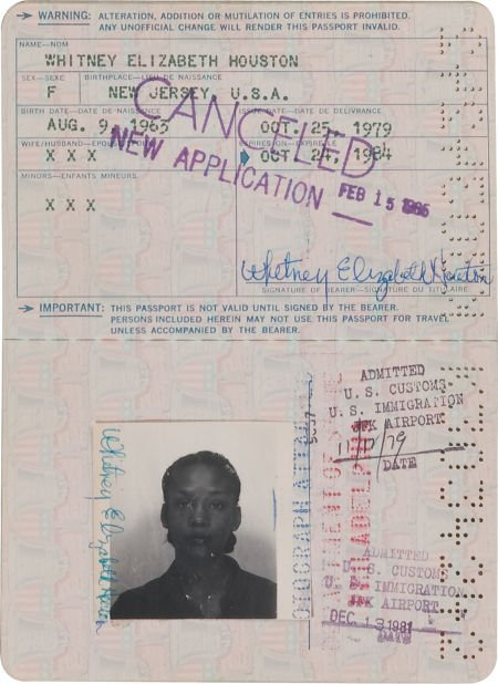 46149: A Whitney Houston Twice-Signed Passport, 1979-19