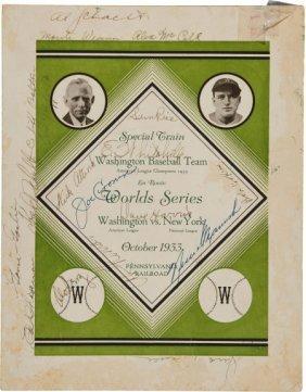 1933 Washington Senators Team Signed World Serie