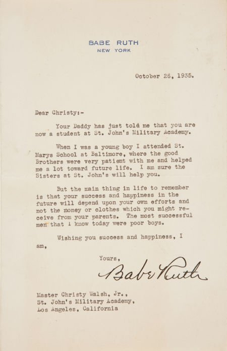 81027: 1935 Babe Ruth Signed Letter Discussing His St.