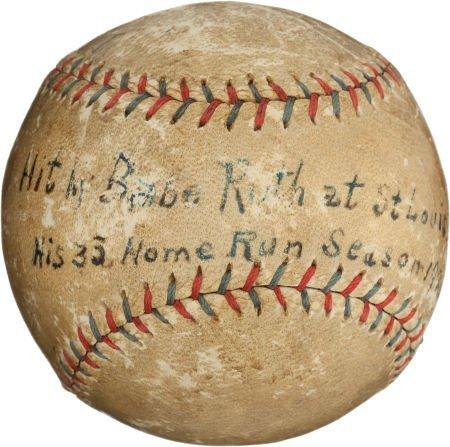 80934: 1921 Babe Ruth 136th Career Home Run Baseball--T
