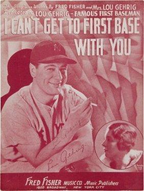 1935 Lou Gehrig Signed Sheet Music.
