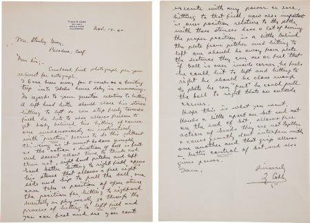 81031: 1940 Ty Cobb Handwritten Letter of Advice on Top