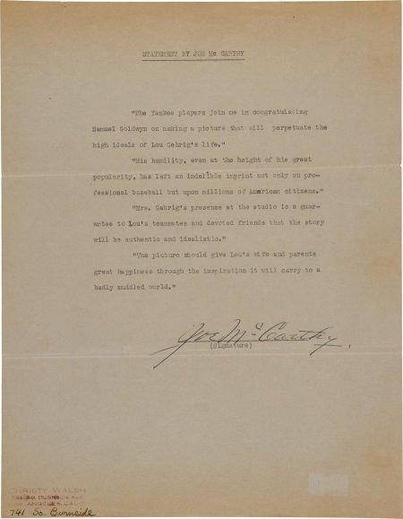 "81033: 1941 Joe McCarthy Signed Statement Regarding ""Th"