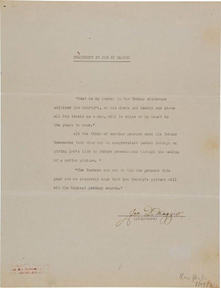 """81034: 1941 Joe DiMaggio Signed Statement re: """"The Prid"""
