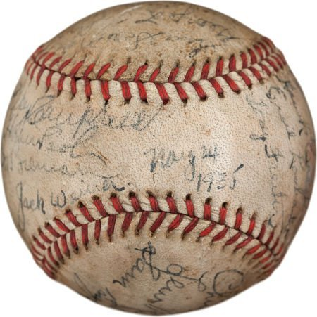 80941: 1935 First Major League Night Game Used Baseball