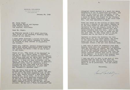 "81035: 1942 Samuel Goldwyn Signed Letter re: ""The Pride"