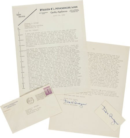 81036: 1942 Fred Snodgrass Signed Letter re: Near Riot