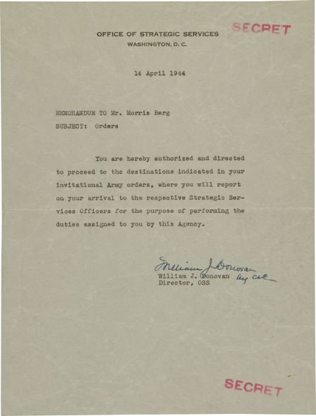 81037: 1944 Moe Berg World War II Orders from Office of