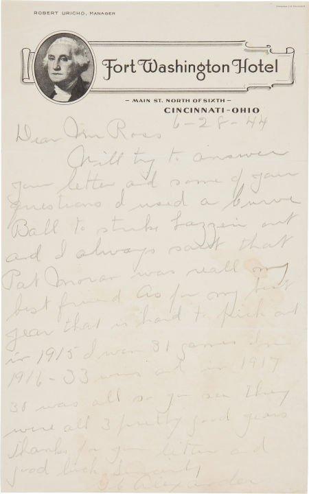 81039: 1944 Grover Cleveland Alexander Handwritten Sign