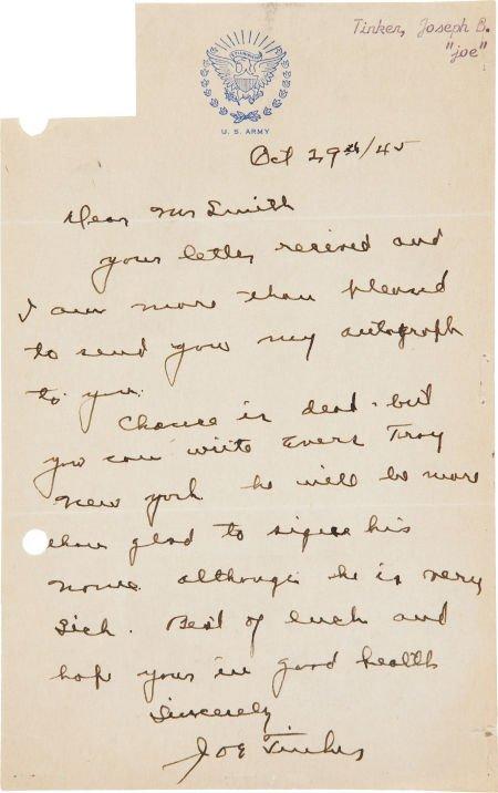 81040: 1945 Joe Tinker Handwritten Signed Letter Mentio