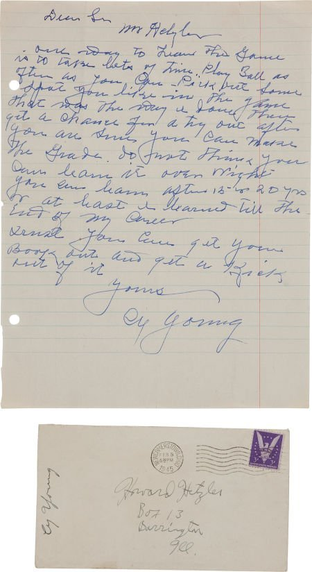 81041: 1945 Cy Young Handwritten Signed Letter.