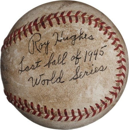 80948: 1945 World Series Baseball Used to Record Final