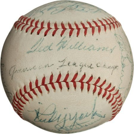 80949: 1946 Boston Red Sox Team Signed Baseball.