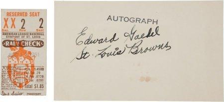 81045: 1951 Eddie Gaedel Rare Signed Index Card PSA DNA
