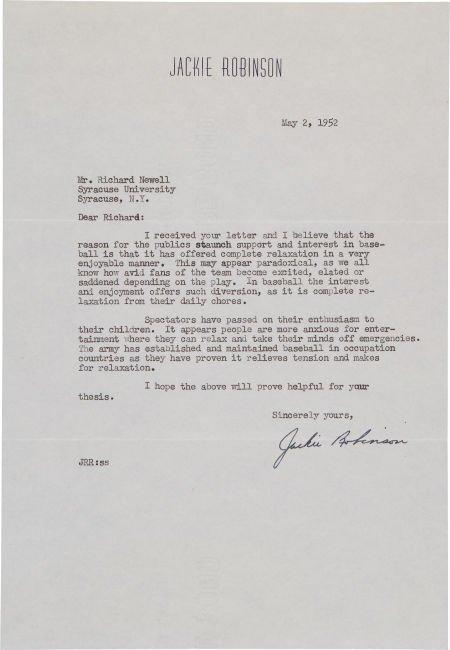 "81046: 1952 Jackie Robinson ""Importance of Baseball"" Si"