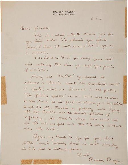 81047: Circa 1952 Ronald Reagan Handwritten Signed Lett