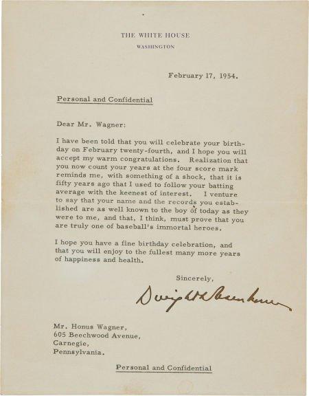 81048: 1954 Dwight D. Eisenhower Signed Letter to Honus