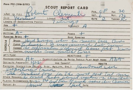 81049: 1954 Roberto Clemente Scouting Report by Pittsbu