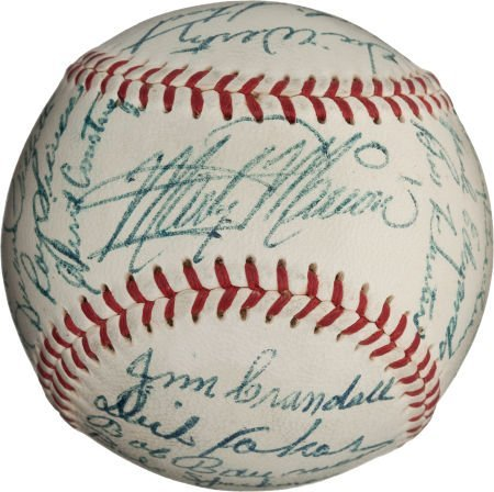 80955: 1953 St. Louis Browns Team Signed Baseball with