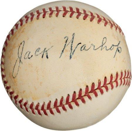 80957: 1950's Jack Warhop Single Signed Baseball--Babe