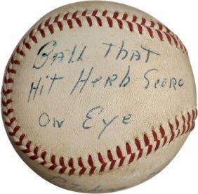 1957 Gil McDougald Line Drive Baseball That Almo