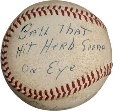 80960: 1957 Gil McDougald Line Drive Baseball that Almo