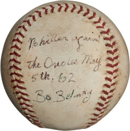 80961: 1962 Bo Belinsky No-Hitter Game Used Baseball.