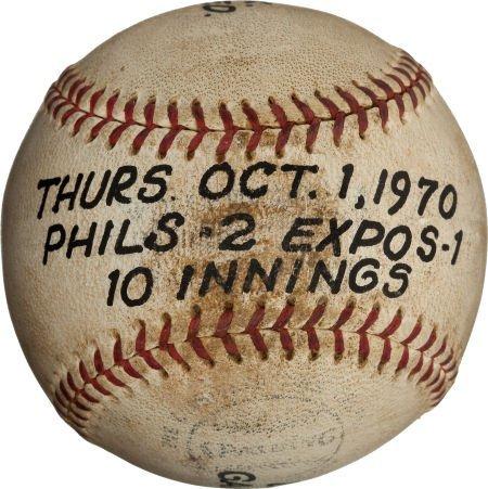 80967: 1970 Last Baseball Used at Connie Mack Stadium (