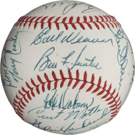 80970: 1971 Baltimore Orioles Team Signed Baseball.