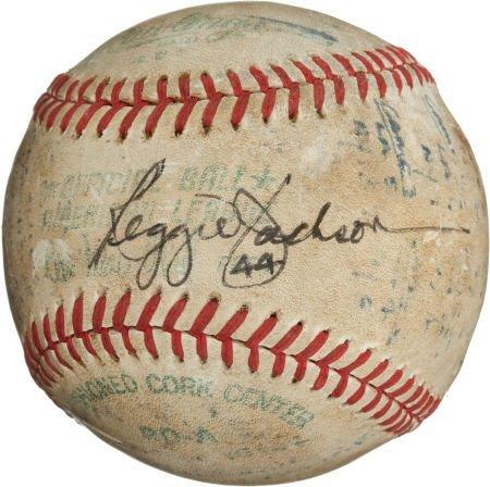 80976: 1977 Reggie Jackson Third Home Run Baseball from