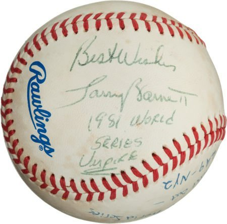 80980: 1981 World Series Baseball Used to Record Final