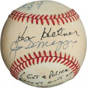 1980's Joe DiMaggio & Ken Keltner Dual-Signed Ba