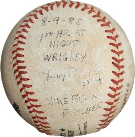 80990: 1988 First Wrigley Field Night Game Home Run Bas