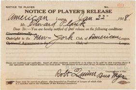 "1918 Eddie Plank ""Notice Of Player's Release"" En"
