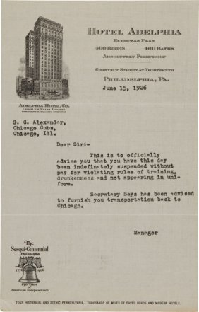 1926 Chicago Cubs Letter Suspending Grover Cleve