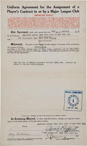 1926 Wally Pipp New York Yankees To Cincinnati R