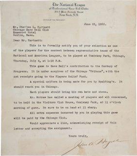1933 John Heydler Signed Letter Of Invitation To