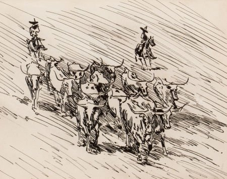 70023: EDWARD BOREIN (American, 1873-1945) Vaqueros and