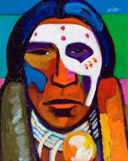 70096: JOHN NIETO (American, b. 1936) Warrior with Face