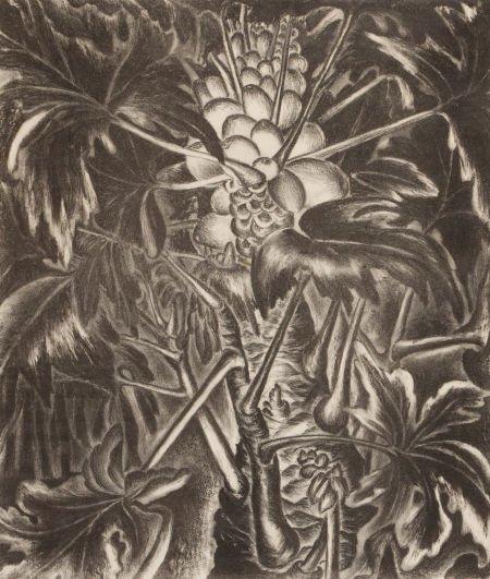 76008: MARY LIGHTFOOT (1889-1970) Banana Plant; Papayas