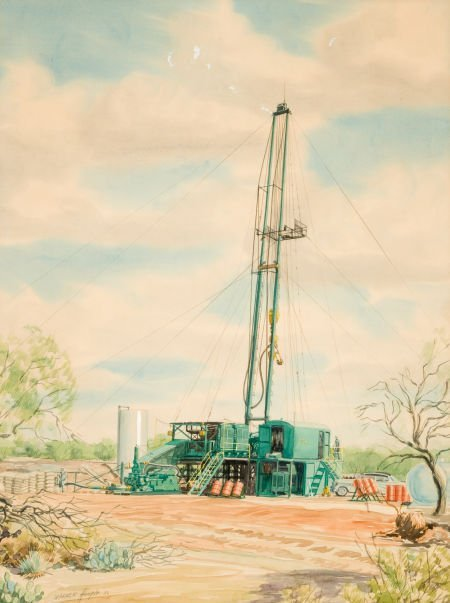 76034: WARNER HOOPLE (American, 1904-1989) Oil Rig, 195