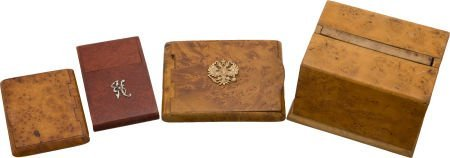 50097: Lot of Four Collectible Antique Wooden Cigarette