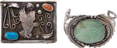 50105: Navajo Belt Buckle and Hopi Bracelet.