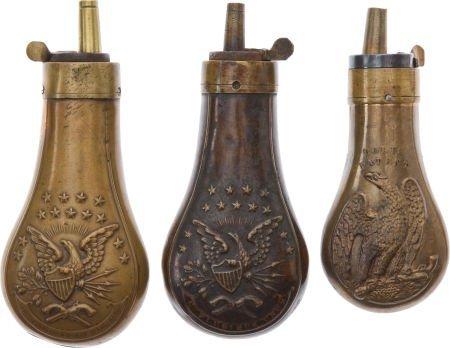 50108: Lot of 3 Assorted Colt Pistol Flasks.